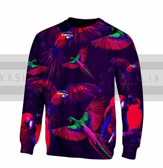Buso de papagayos violeta y neón