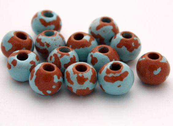 4 Greek Ceramic Beads  12 mm Beads  Pueblo by ThisPurplePoppy, $3.25
