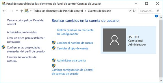 Panel de control: Cuentas de usuario de Windows 10