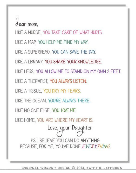 Personalized Letter To Mom Or Mum Typographic Print Sentimental
