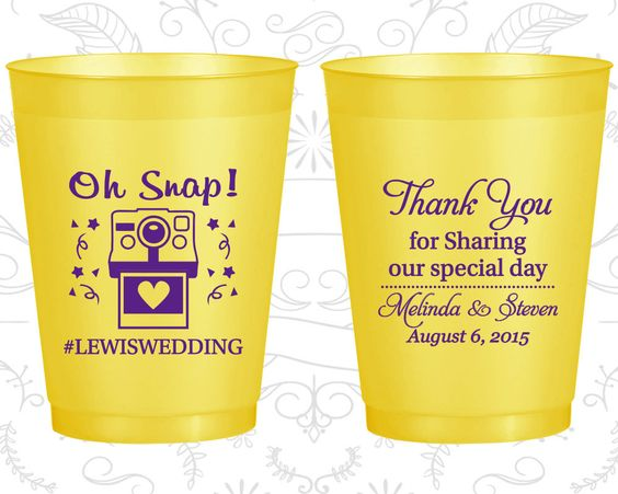 Oh Snap Wedding, Personalized Frosted Party Cups, Wedding Hashtag, Camera, Thank you for Sharing Our Special Day, Yellow Frosted Cups (95)