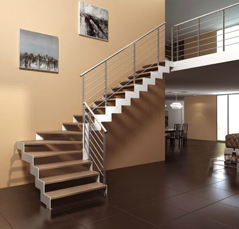 Escalera en l con zancas laterales estructura met lica y for Escalera de metal con descanso