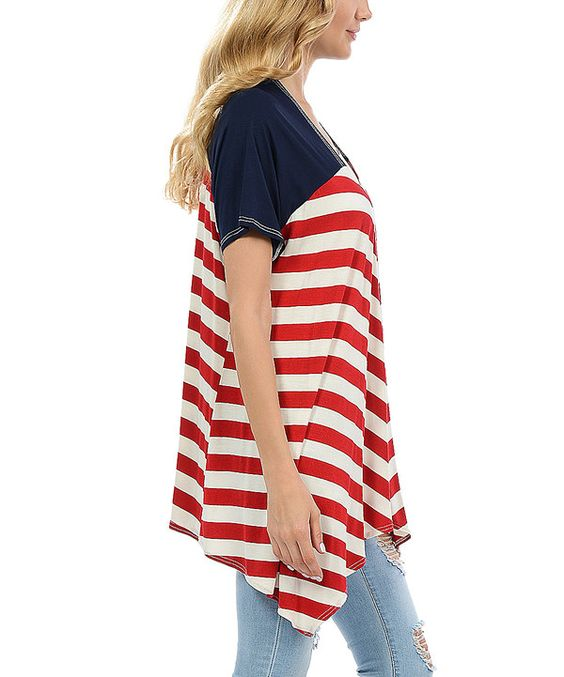Look at this Red & Blue Stripe Open Cardigan on #zulily today!