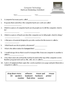 Printables Basic Computer Skills Worksheets computer parts lesson plans computers and ideas technology lessons with worksheets for 2nd 3rd graders