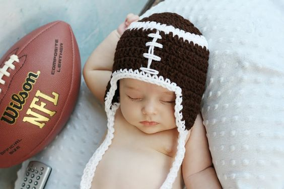Monday Nite FOOTBALL Crochet Earflap hat with ties Boy or girl  Sizes Preemie Newborn Infant Toddler Ready for Football. $12.50, via Etsy.