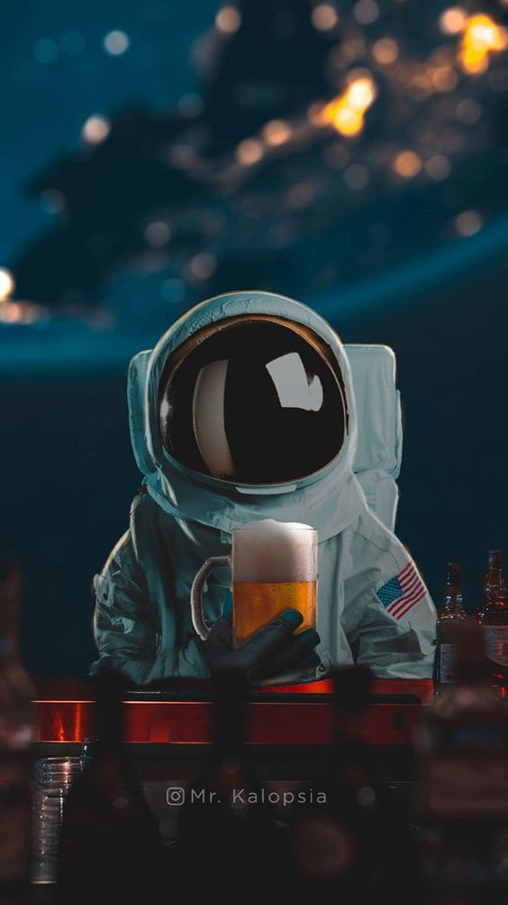 Beer Astronaut Space Tumblr Aesthetic Wallpaper Iphone Background