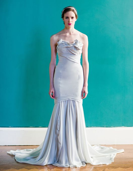 "Carol Hannah - Spring 2013. ""Belmont"" strapless crepe and satin faced chiffon mermaid wedding dress with a folded bodice, Carol Hannah"