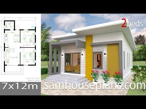 Small House Design Plans 7x12 With 2 Bedrooms Full Plansthe House Has One Story House 2 Bedrooms 1 Ba Small House Design Plans Small House Design House Plans