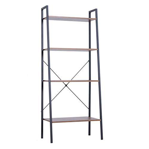 Ayamastro 4 Tier 23 5inches Ladder Book Shelf Metal Frame Storage