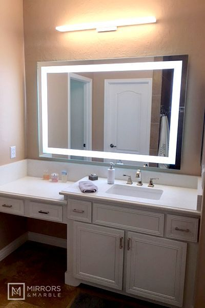 Front Lighted Led Bathroom Vanity Mirror 60 Wide X 40 Tall Rectangular Wall Mounted Bathroom Vanity Mirror Bathroom Mirror Lights Bathroom Decor