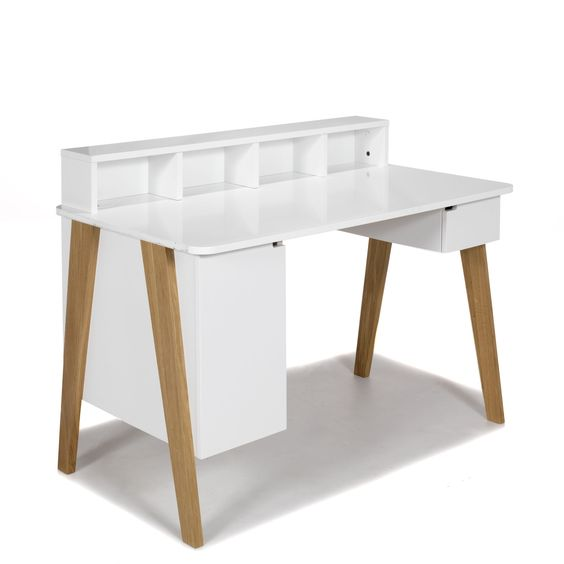 Secr taire bureau style scandinave blanc darwin les for Decoration interieur bureau