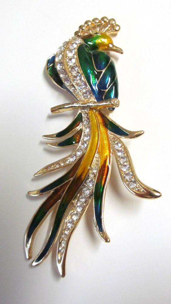 Vintage Huge Bird Brooch Enamel Clear by TheCedarChestMidland, $34.99