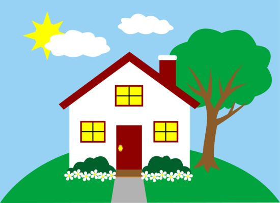Clip art of a cute little red and white house on a hill next to a tree:
