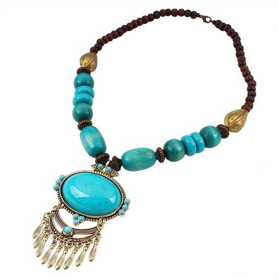 YAZILIND ethnische Art Gold überzogene bunte Troddel ovale hängende Schellfisch Aussagen Kragen Halskette für Frauen Schmuck Geschenk: Amazon.de: Schmuck