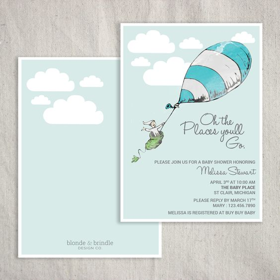 oh the places you 39 ll go 39 dr seuss themed baby shower invitation