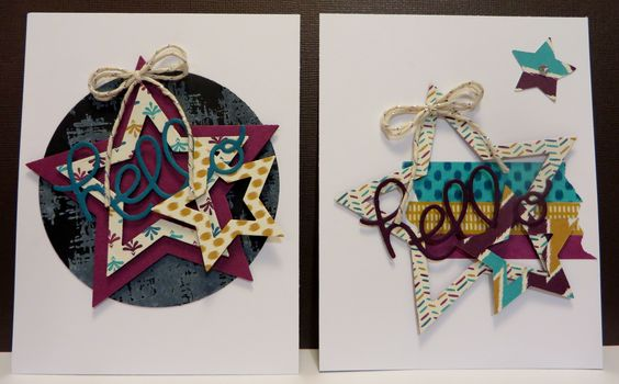 Star cards created by Lynn Gauthier using Stampin' Up Bohemian DSP, SU Greetings Thinlits and SU Circle and Star Framelits. Convention 2015 card swaps!  Shhh....Dont tell yet!  =)