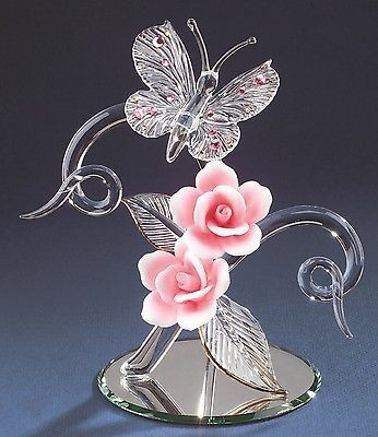 "Glass Baron ~ Crystal Butterfly with Pink Roses ~ 7 1/2"" tall ~ Brand New in Box ~ This is the last one I currently have in stock Description Brand New in box Glass Baron Glass Baron Crystal Butterfly with Pink Roses Glass Baron ~ High Quality, individually hand-crafted glass figurine. - Glass Baron - - Height: 7 1/2 Inches - Butterfly with Pink Swarovski Crystals Leaves have 22 kt. gold accent Mounted on Round Mirror - Made by Glass Baron - Model Number: P7 435P The beautiful Glass Baron Collec"
