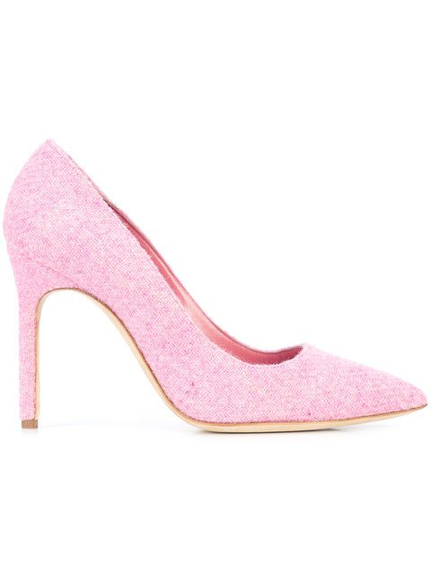 Manolo pink wool pumps
