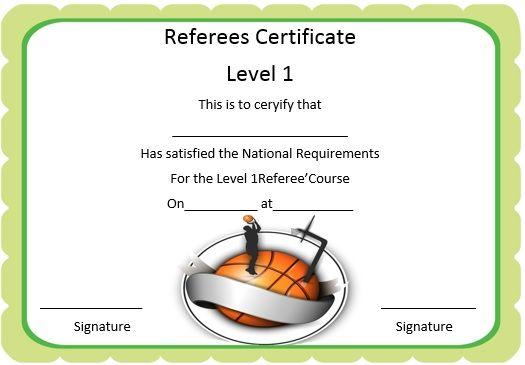 Basketball Referee Certificate  Basketball Certificate Template