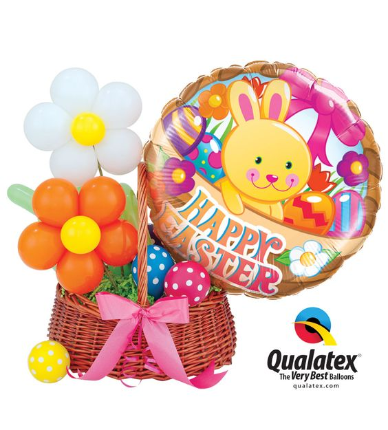 Easter basket filled with colorful balloons make for Balloon decoration business
