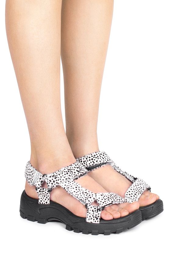 Jeffrey Campbell Shoes LOMA-F Sandals in White Black Jaguar