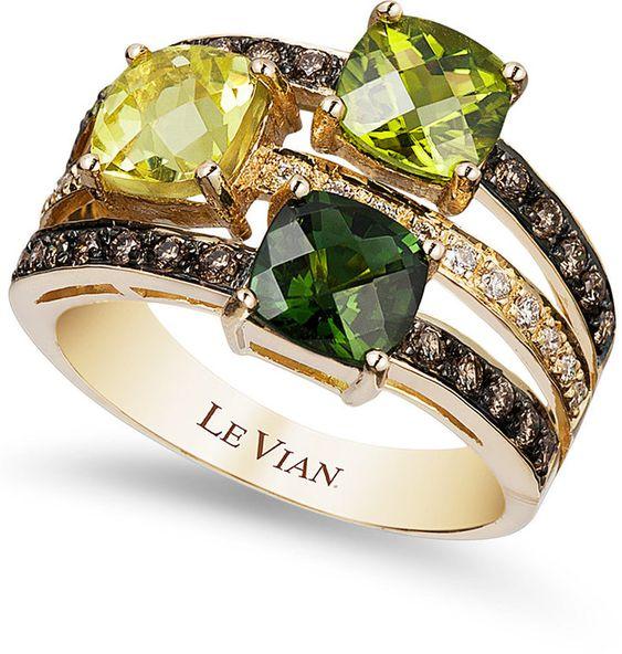 Le Vian Green Tourmaline (7/8 ct. t.w.), Peridot (7/8 ct. t.w.), Lemon Quartz (7/8 ct. t.w.) and Chocolate (1/3 ct. t.w.) and White #Diamond (1/10 ct. t.w.) Ring in 14k Gold