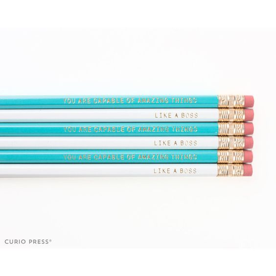 Cute Inspirational Pencil Set White Teal and Gold Printed Pencil Set... ($3) ❤ liked on Polyvore featuring home, home decor, office accessories, home & living, light blue, office, office & school supplies, inspirational mugs, quote mugs and inspirational quote mugs