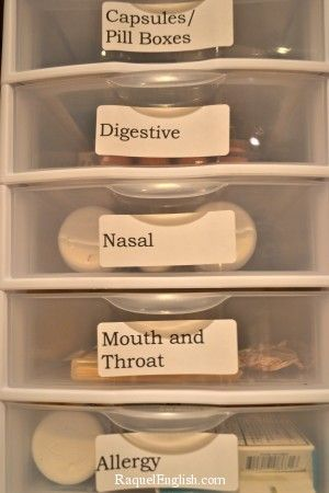 Genius! Love all her ideas for her meds and homeopathic stuff - Organize your medicine cabinet.