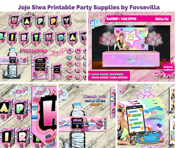 Jojo Siwa Printable Party Supplies by Fovsevilla
