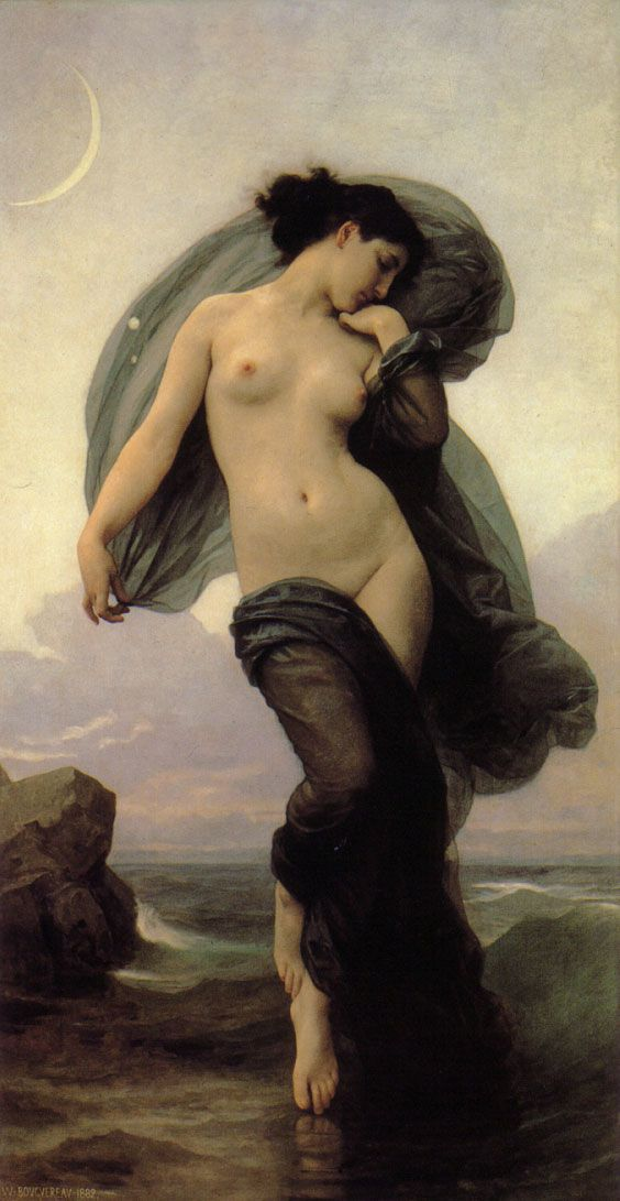 William Bouguereau (1825-1905) -  Le Crepuscule Twilight. Such beautiful skin.: