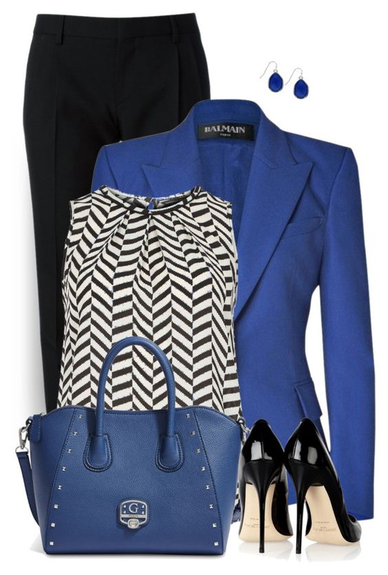 Bright Blue Blazer by daiscat on Polyvore featuring Dorothy Perkins, Balmain, Yves Saint Laurent, Jimmy Choo, GUESS and Nine West