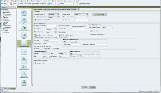 Configuration features of BzComposer ERP program