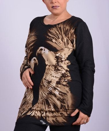 Another great find on #zulily! Black & Beige Eagle Pair Tee - Plus #zulilyfinds