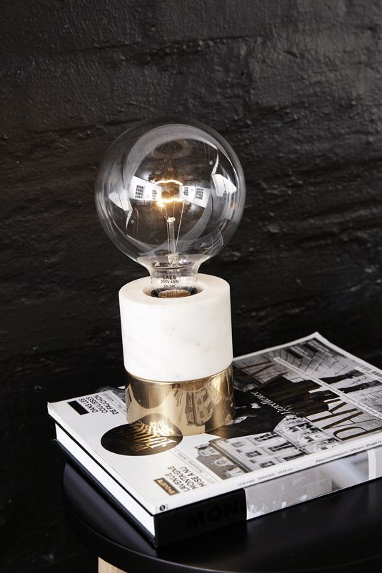 Holly's House - Marble & Brass Bulb Table Lamp