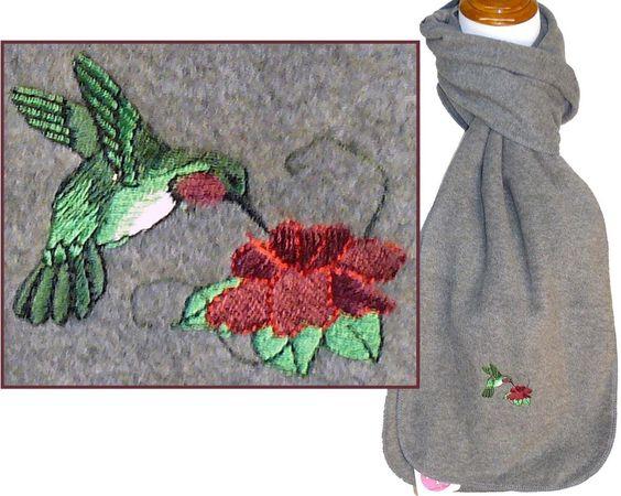 Hummingbird Scarf Warm Winter Fleece Buzzing Bird & Flower Monogram Embroidered