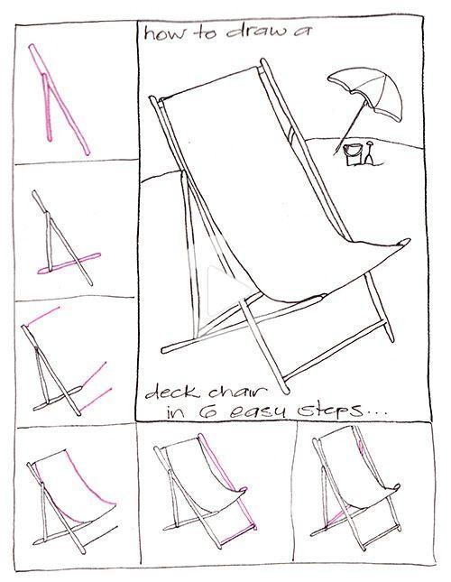 Step By Step How To Draw A Deck Chair In 6 Steps In 2020 Step By Step Drawing Chair Drawing Drawings