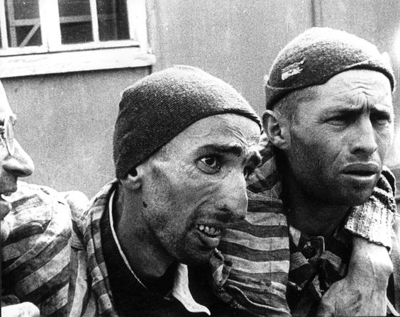 1945 Dachau, Germany - Inmates of the Dachau Concentration Camp after their liberation by the U.S. 7th Army.