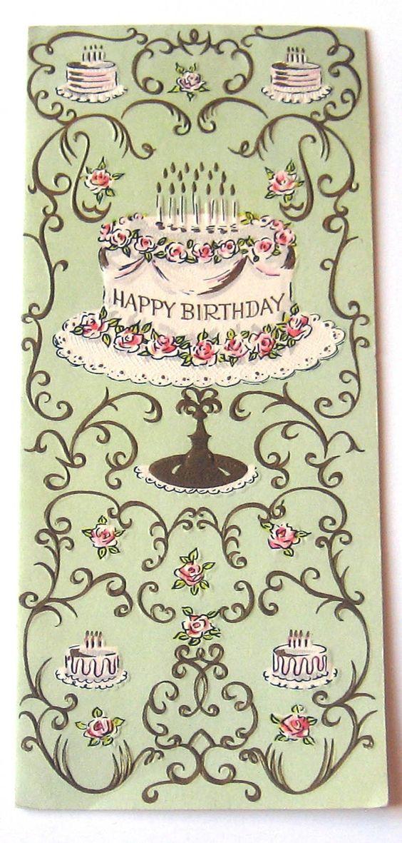 Cascading cake gl ckw nsche pinterest for Vintage geburtskarten