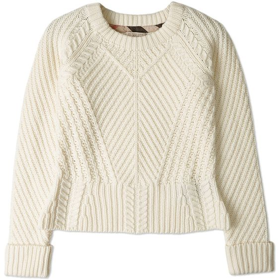 Burberry Brit Natural White Peplum Cable Knit Jumper found on Polyvore