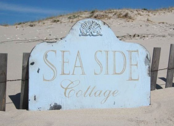 BEACH SEASIDE COTTAGE shabby sign chippy vintage inspired