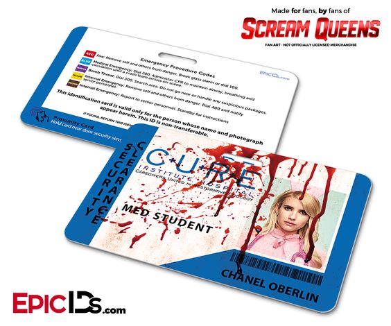 C.U.R.E. 'Scream Queens' Hospital Cosplay Employee ID Name Badge - Chanel Oberlin