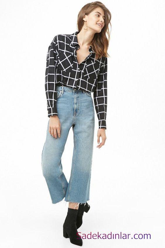 Siyah Gomlek Kombinleri Bayan Mavi Mom Jeans Pantolon Siyah Uzun Kol Ekose Desenli Gomlek Siyah Nubuk Topuklu Bot Ekose Siyah Pantolon Pantolon