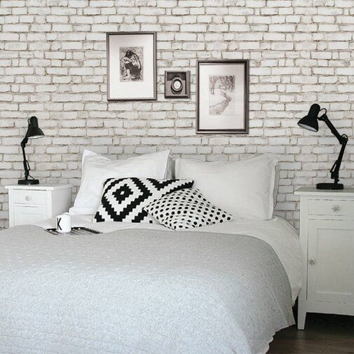 9 X 24 Brick Peel And Stick Wallpaper Roll 6 50 Ft White Brick Wallpaper Brick Wallpaper Bedroom White Brick Wallpaper Bedroom