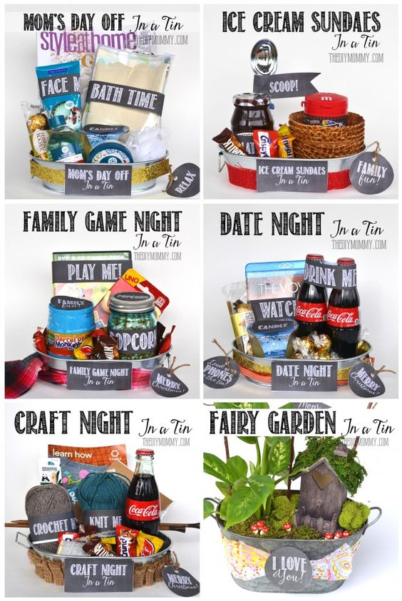 Do it Yourself Gift Basket Ideas for all Occassions - Non Holiday Gift in a Tin ideas for Family Night - Game Night - Movie Night and MORE via The DIY Mommy