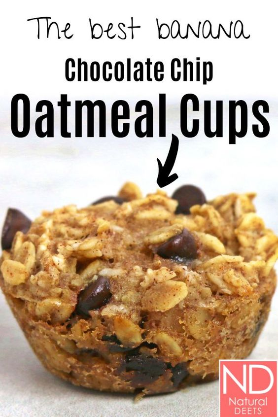 Baked Oatmeal Cups with Bananas and Chocolate Chips
