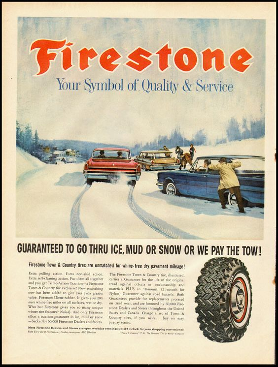 1965 Vintage Ad Firestone All Weather Tires