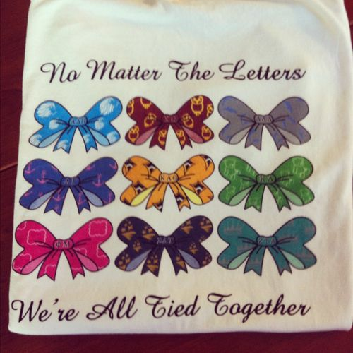This is super cute!!!    hashtagkreyzee:    No Matter the Letters, We're All Tied Together  College of Charleston Sorority Recruitment 2012: Cute Ideas, Greek Shirt, Panhellenic Shirts, Panhel Shirt, Sorority Life, Recruitment Shirts, Sorority Girl, Panhell Shirt, Shirt Ideas