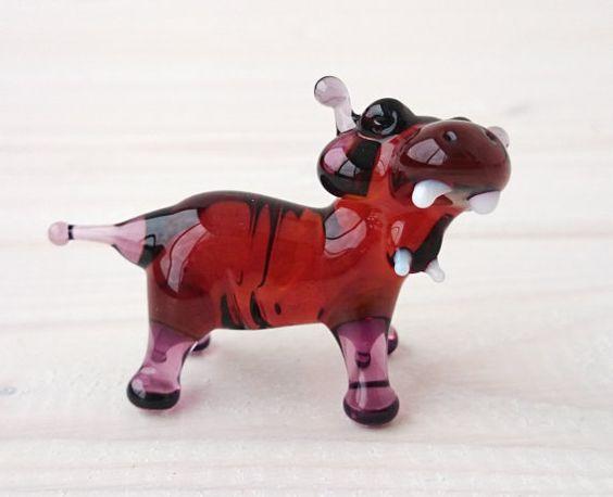 Nilpferd Glas Figur  geblasenes Glas-Tiere  von MiniGlassStudio