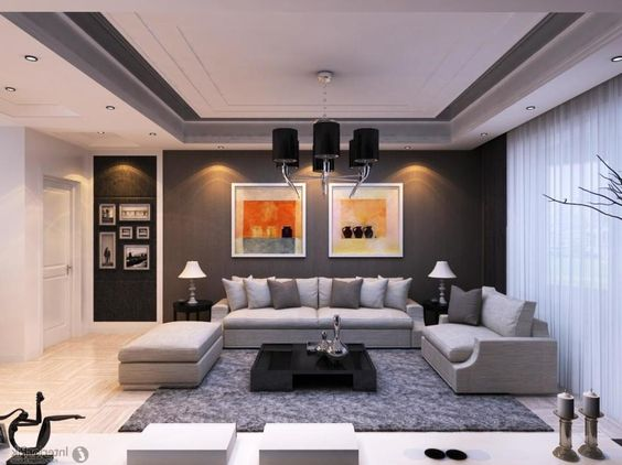 Apartment, Rustic Apartment Living Room Interior Design With Gray Sectional Fabric Sofa Plus Dark Wooden Low Table On Gray Fur Rug As Well White Curtain Cover Wide Glass Window Also Fancy Chandelier: Elegant Apartment Living Room for Comfort Living Space