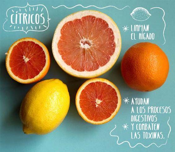 Cítricos: Las naranjas, limas, limones, pomelos y mandarinas, se pueden tomar por las mañanas acompañando nuestros desayunos. Podemos hacer zumos, ensaladas, decoraciones, vinagretas y aromatizaciones. Pero frescos y crudos guardan todas sus propiedades.: